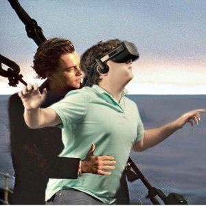 VR headset replicating the Titanic boat scene