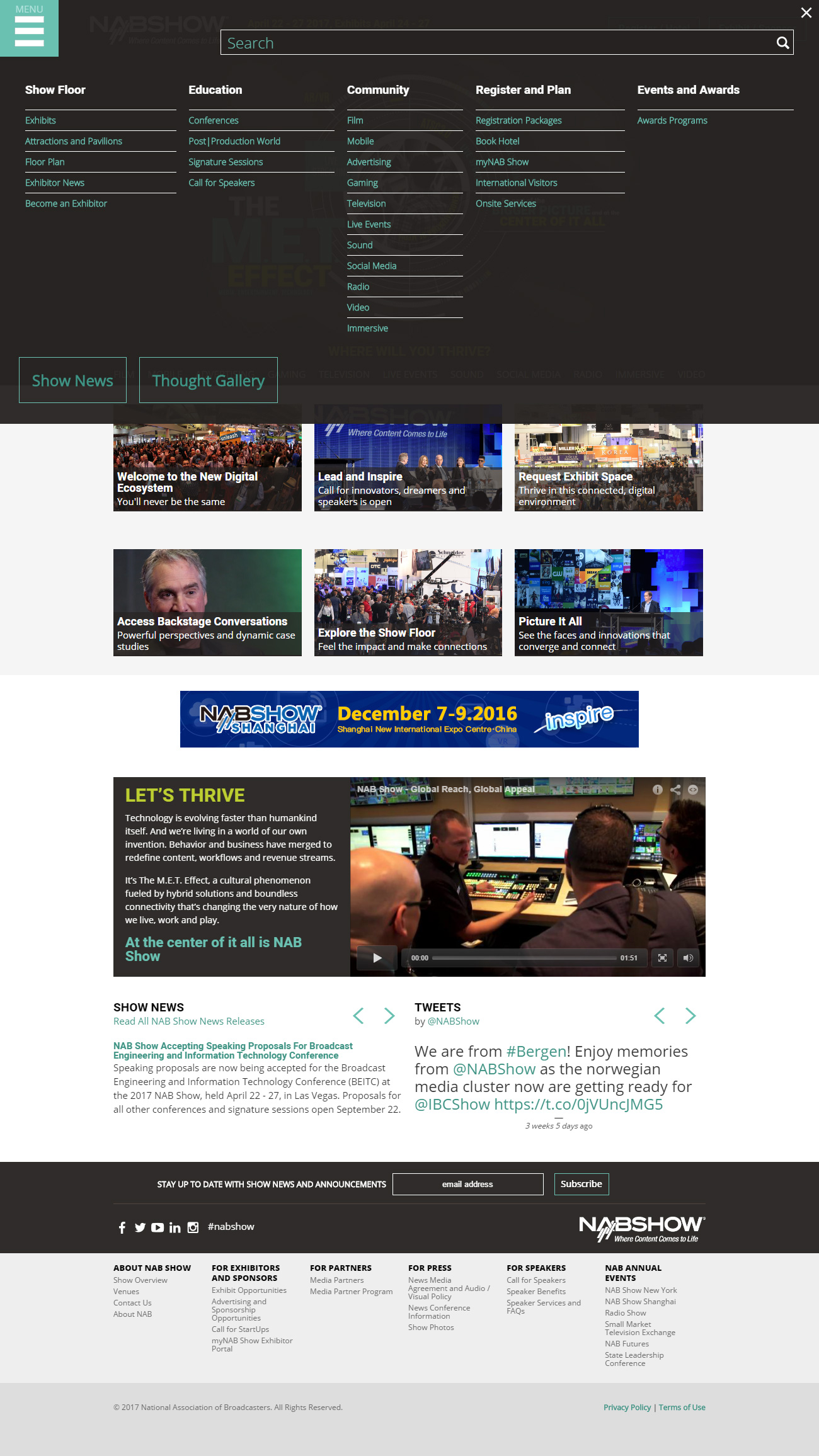 Desktop NAB Show homepage navigation