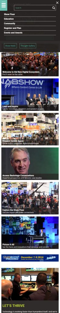 Mobile NAB Show homepage navigation
