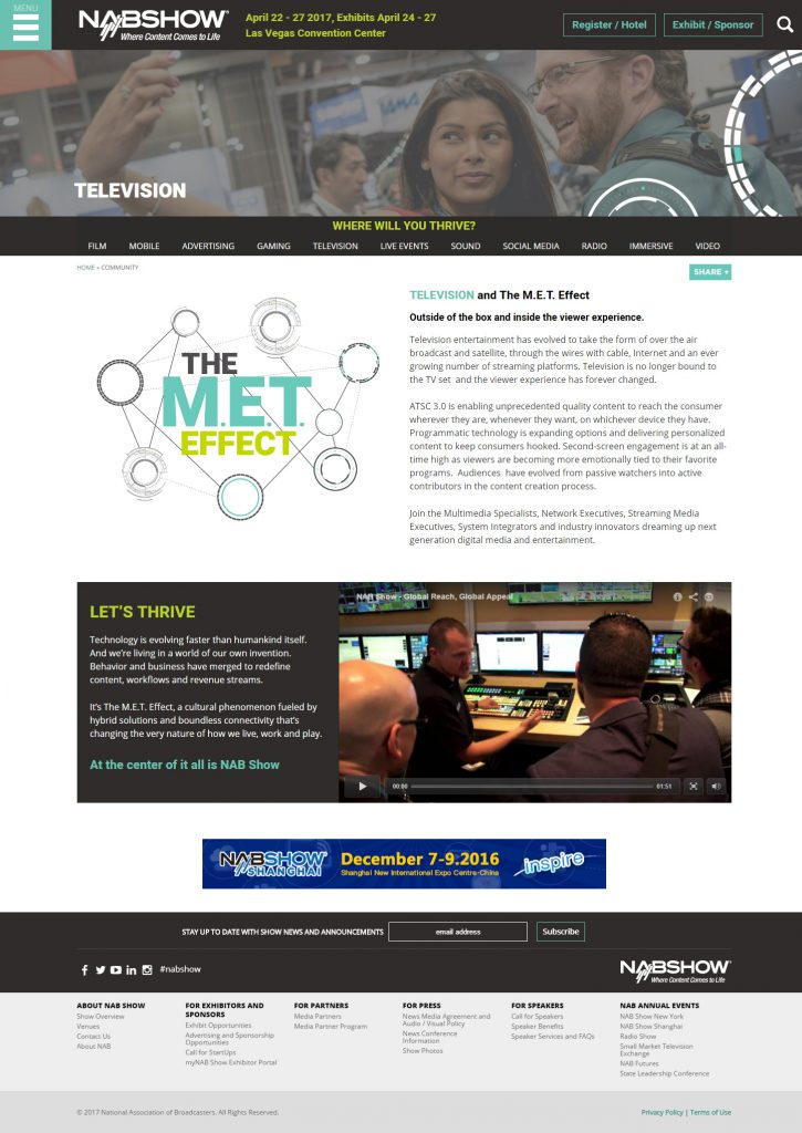 NAB Show simplified interior page